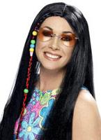 Hippy parti perruque longue noir Perruque Hippie