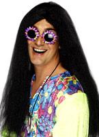 Hippy perruque noir Perruque Hippie