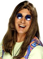 Perruque de Neil longue ligne droite brun Perruque Hippie