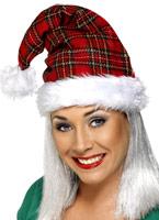 Bonnet de Noel Tartan rouge blanc Chapeaux de Noël