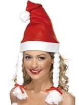 Bonnet de Noel blanc molleton rouge Chapeaux de Noël
