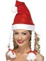 Chapeaux de Noël Bonnet de Noel blanc molleton rouge