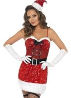 Costume de Santa de paillettes Costume Mère Noël