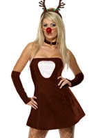 Rouge renne chaud Costume Robe Costume Mère Noël