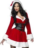 Hooded Costume de Santa de fièvre Costume Mère Noël
