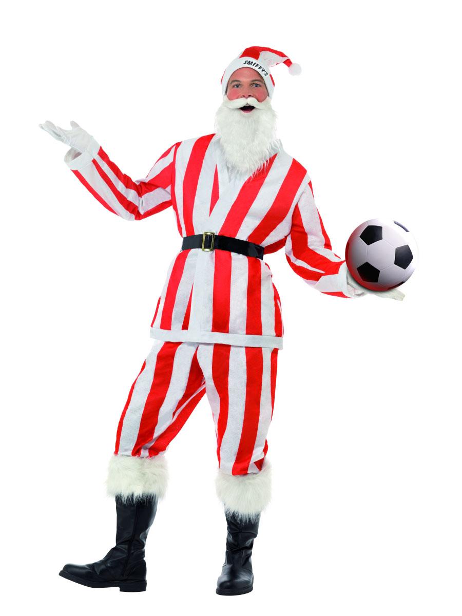 Père Noel Sportif Red & blanc rayé Santa Costume de Sport
