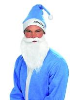 Chapeau bleu ciel & Set barbe Père Noel Sportif