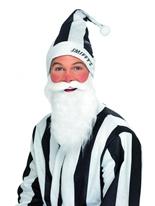 Ensemble chapeau & barbe noir et blanc Père Noel Sportif