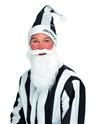 Père Noel Sportif Ensemble chapeau & barbe noir et blanc
