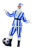 Costume de Santa de Sport rayé bleu & blanc Père Noel Sportif