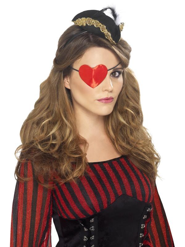 Accessoire de Pirate Coeur de pirate en forme de bandeau sur le ?il