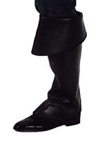 Couvre-bottes noires prime Pirate Accessoire de Pirate