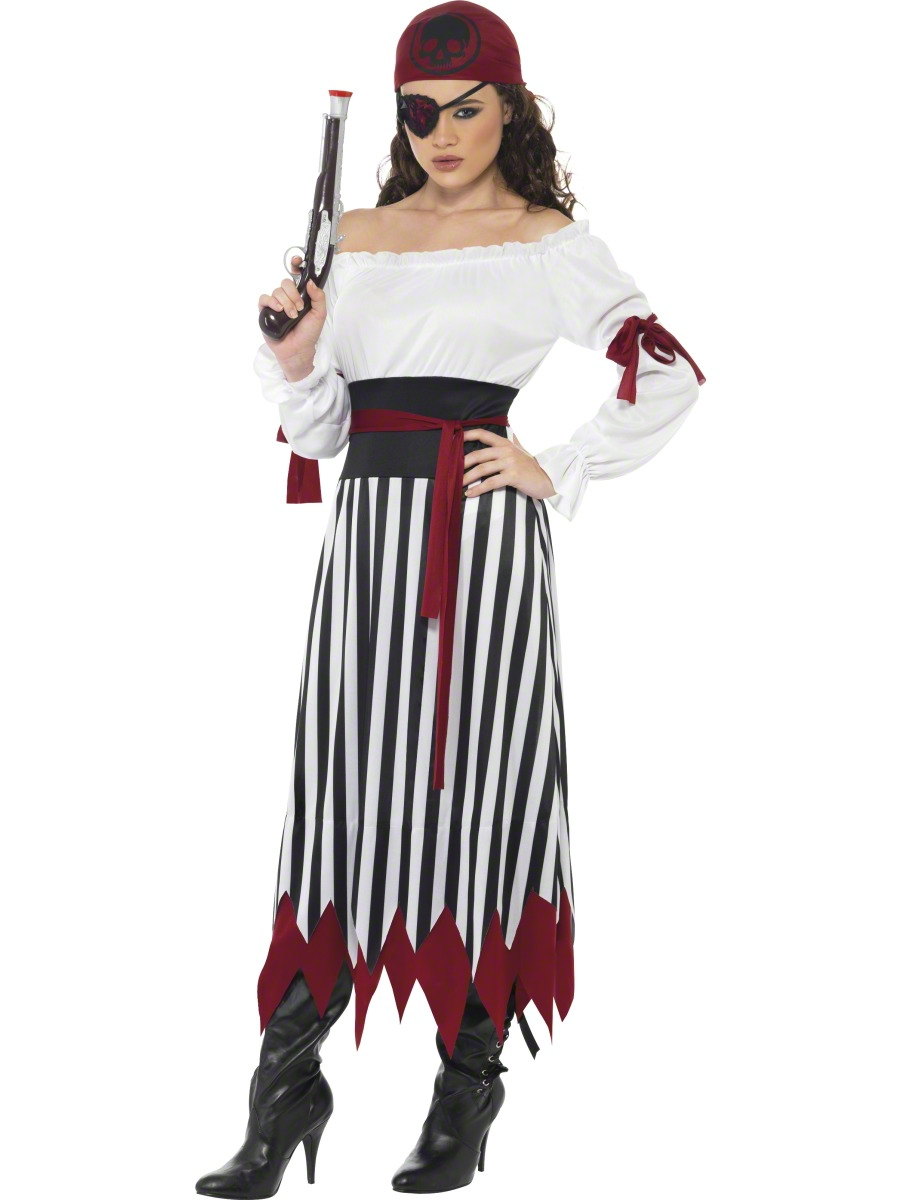 Check out our women's and kids' pirate costumes, for a family theme! - Shirt - Belt w/Buckle - Cropped Pants - Bandana - Boot Tops - Wrist Cuffs Costume includes shirt with front lacing detail, pants, head tie, boot tops, belt and wrist cuffs/5().