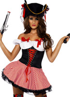 Costume Pirate noir rouge blanc Costume de Pirate adulte
