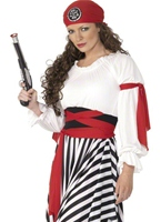 Mesdames pirate Costume rouge blanc noir Costume de Pirate adulte