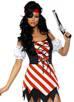 Pirate Costume rouge blanc noir Costume de Pirate adulte