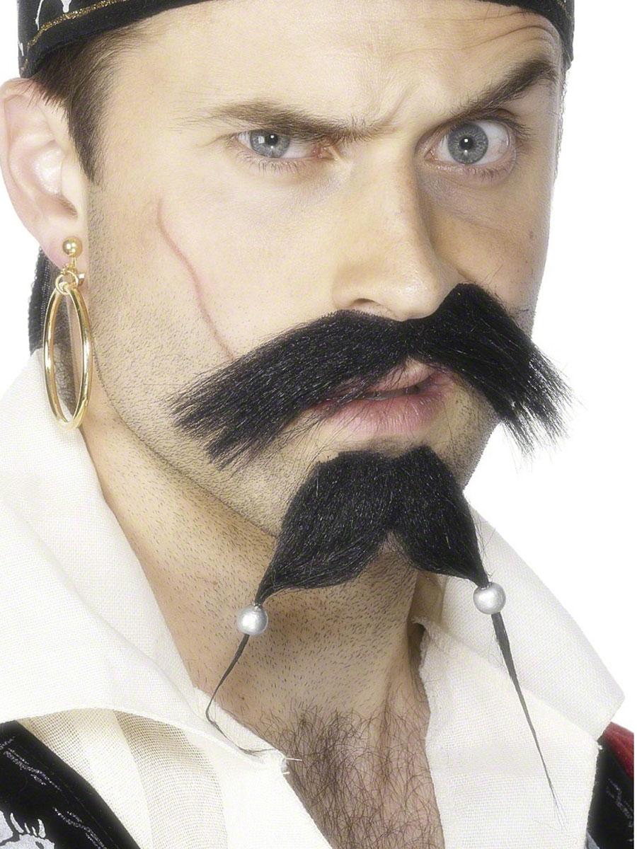 Perruque de Pirate Jeu de pirates Tash et barbe noir