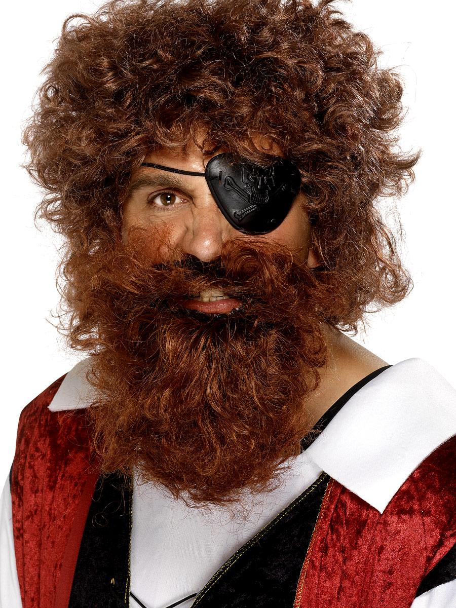 Perruque de Pirate Luxe Pirate barbe brune