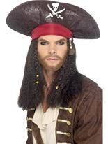 Chapeau de pirate avec des tresses Perruque de Pirate