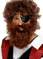 Luxe Pirate barbe brune Perruque de Pirate