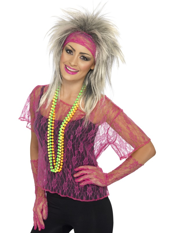 Costume Femme Retro Dentelle Net gilet rose