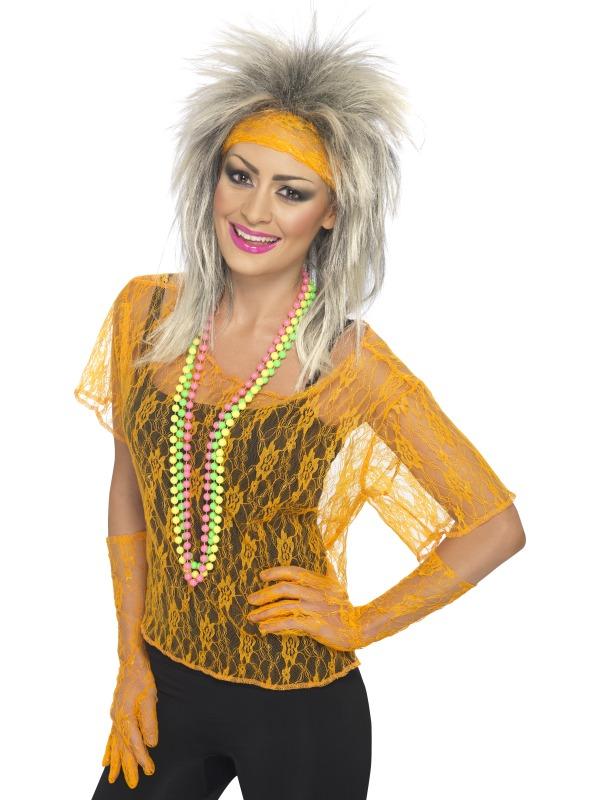 Costume Femme Retro Dentelle Net gilet Orange