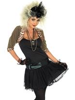 80 ' s Pop Star Costume (noir) Costume Femme Retro