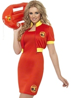 Mesdames Baywatch Beach Lifeguard Costume Costume Femme Retro