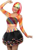Mesdames Rainbow Raver Kit Costume Femme Retro
