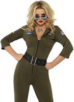 Costume aviateur Top Gun Costume Femme Retro