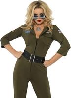Costume aviateur Top Gun Costume Femme Retro