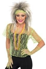Dentelle Net gilet vert Costume Femme Retro