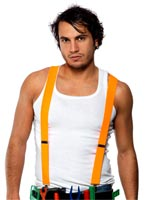 80 ' s bretelles Neon Orange Costume Homme Retro