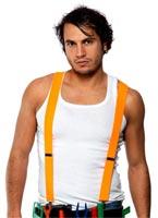 80 ' s bretelles Neon Orange Costume Homme Retro