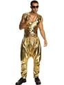 Costume Homme Retro 80 s pantalon MC rappeur or