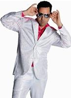 Pailleté Mens costume Disco blanc Costume Homme Retro