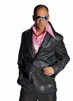 Costume Disco Mens noir pailleté Costume Homme Retro