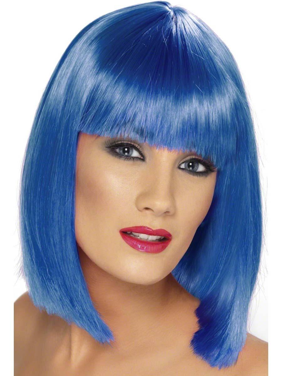Perruque Retro Bleu courte perruque de Glam