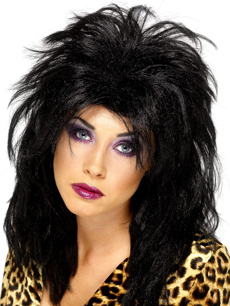 Perruque Retro 80 ' s Popstar perruque noir
