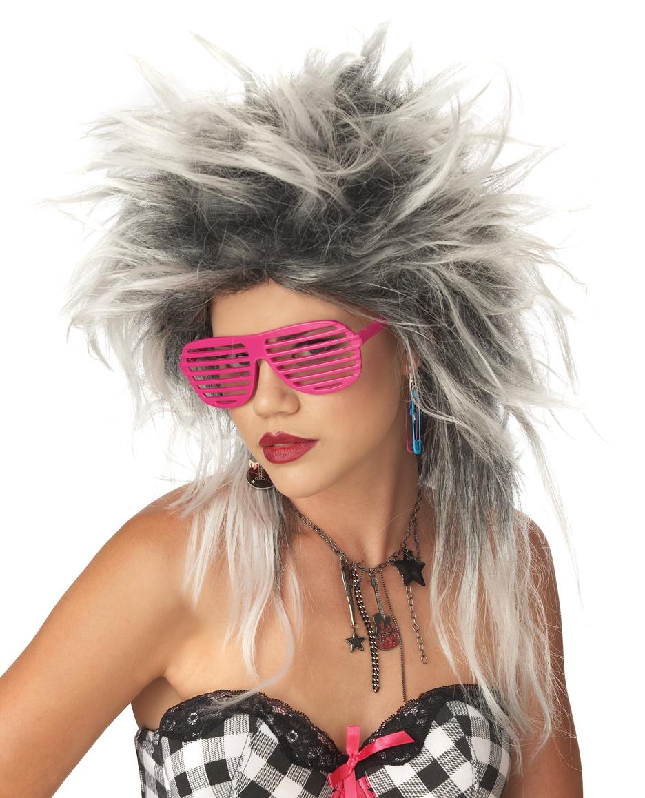 Perruque Retro La divine Punk perruque blanc/noir