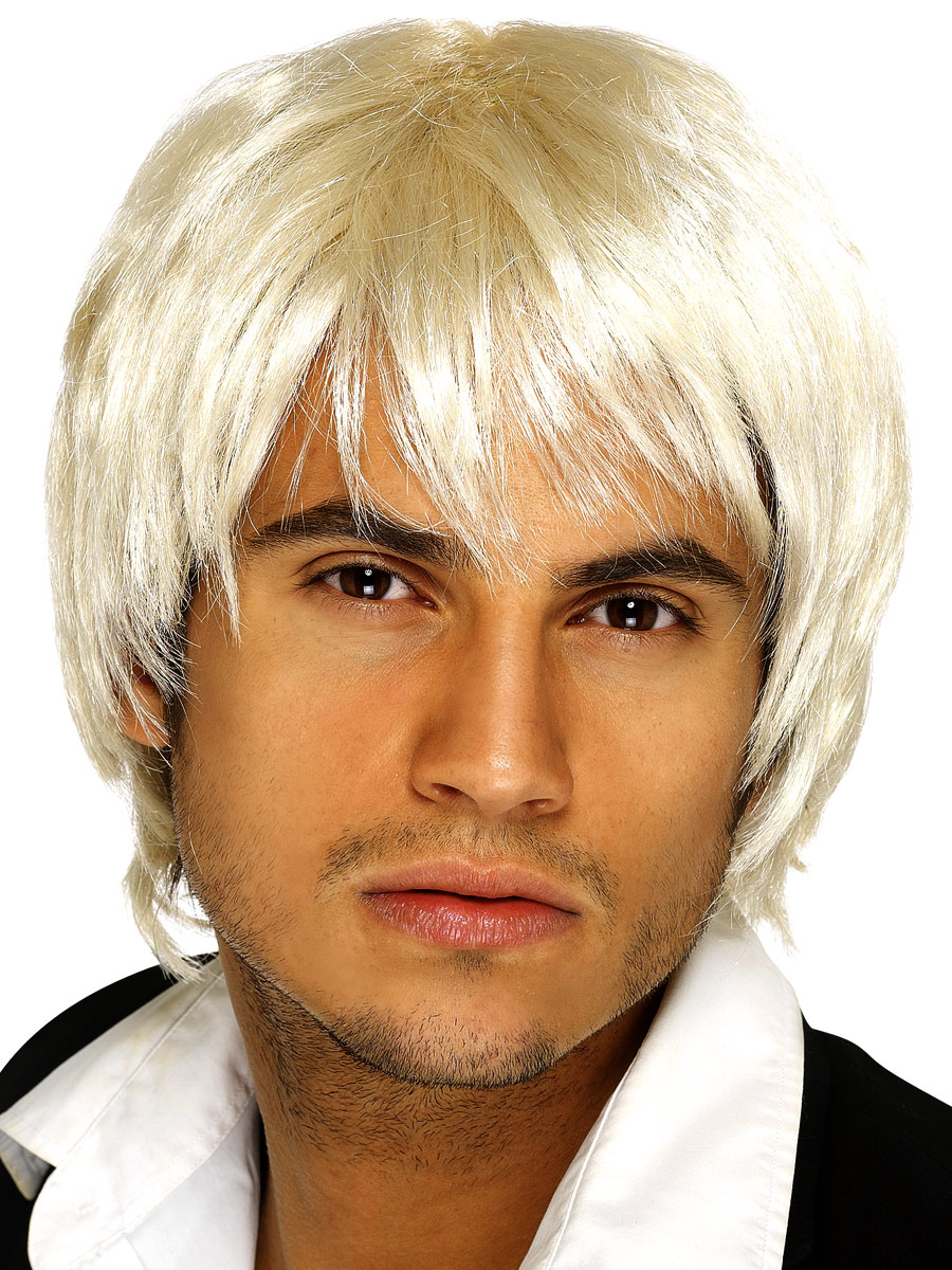 Perruque Retro Style court Boy Band perruque Blonde