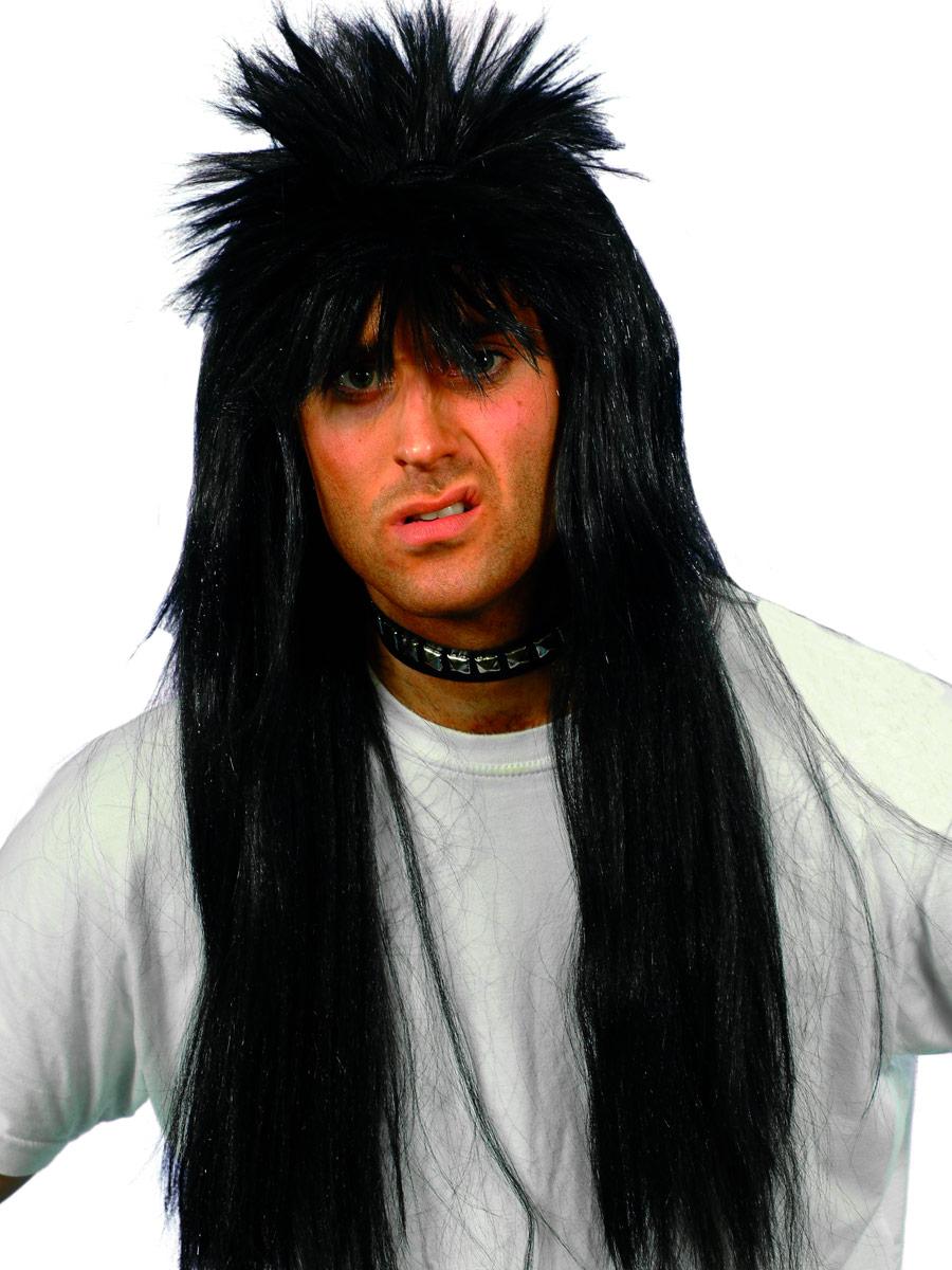 Perruque Retro Black perruque Punky longue hérissés