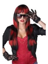 Perruque sauvage rouge rayé Perruque Retro