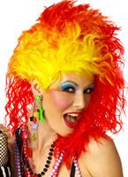 Superbe perruque vraies couleurs rouge et jaune Perruque Retro