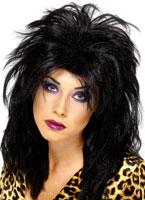 80 ' s Popstar perruque noir Perruque Retro