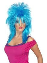 Perruque néon bleu Raver mulet Perruque Retro