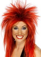 Rock Diva perruque rouge/noir Perruque Retro