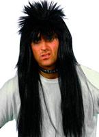 Black perruque Punky longue hérissés Perruque Retro