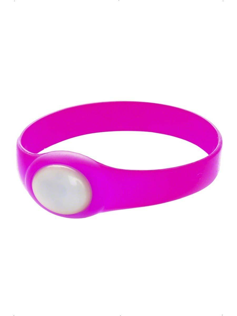 UV & NEON Bracelet en caoutchouc rose néon avec clignotants LED