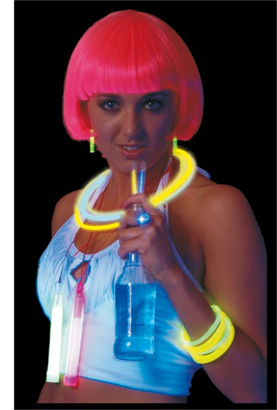 UV & NEON Brillent dans le noir Bracelet/Collier tricolore
